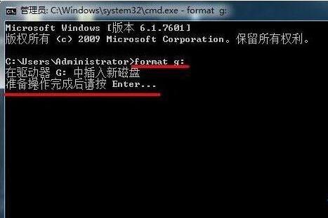 使用格式化命令format